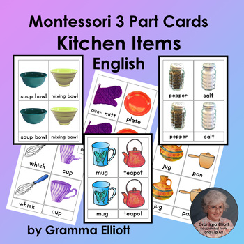 Kitchen Items - Montessori 3 part cards - English Only