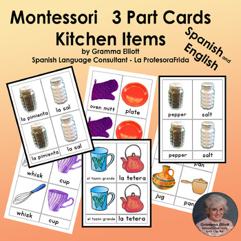 Kitchen Items - Montessori 3 part cards - English and Spanish