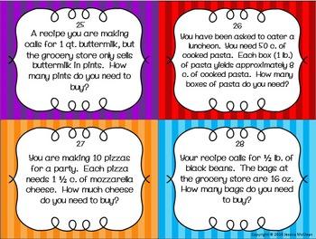 Kitchen Math Task Cards