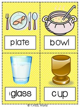 Kitchen & Meals {26 Flashcards & Games} ESL Adults & Grades 4-6