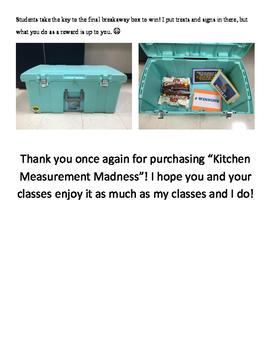 Kitchen Measurement Madness ~ An escape the classroom/breakout style lesson