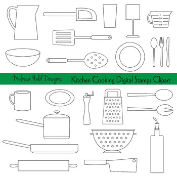 Clipart: Kitchen Cooking Black Outline Clip Art
