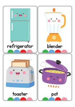 Kitchen Objects Vocabulary Cards