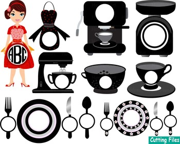 Kitchen Restaurant Utensils food tools Clip art SVG Coffe shop pizzeria cut -45S