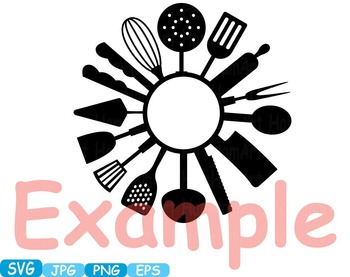 Kitchen SVG file Cricut & Cameo Utensils Cooking food stickers clip art -289S