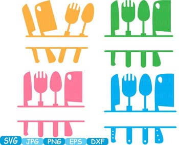 Kitchen SVG file Cricut & Cameo Utensils Cooking food stickers clip art -290S