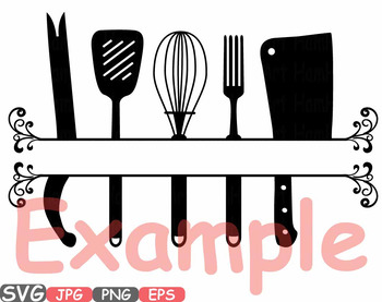 Kitchen Svg File Cricut Cameo Utensils Cooking Food Stickers Clip Art 571s