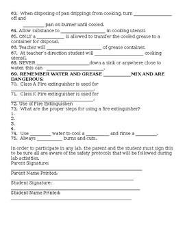 Kitchen Safety Student Fill In Study Guide with Answer Key