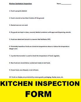 Kitchen Sanitation Inspection Form for Culinary Arts or FA