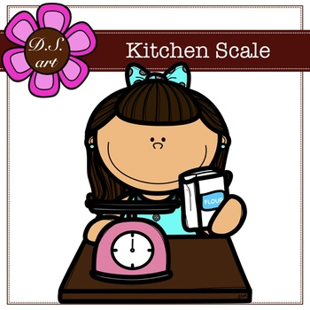 Kitchen Scale Digital Clipart (color and black&white)