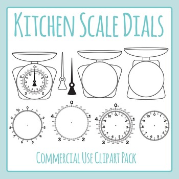 Kitchen Scales (Weight / Mass)  Clip Art Set for Commercial Use