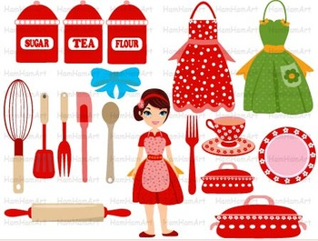 Kitchen School Restaurant Clip Art  TOOLS Food pots and pans WOMAN cooking -077-