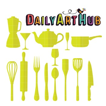 Kitchen Set Clip Art - Great for Art Class Projects!