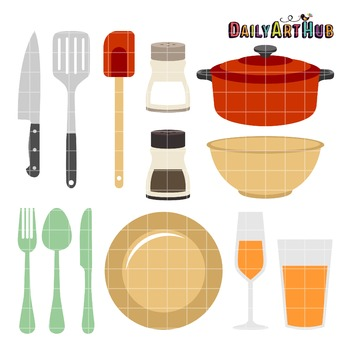 Kitchen Things Clip Art - Great for Art Class Projects!