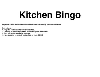 Kitchen Tool BINGO