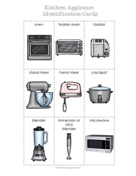 Kitchen Tool and Appliance Cards, Games and Spelling Pages
