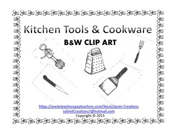 Kitchen Tools & Cookware B&W Clip Art