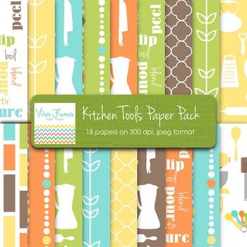 Kitchen Tools Digital paper pack 12x12
