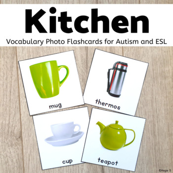 Kitchen Tools Vocabulary Photo Flashcards for Special Education and ESL
