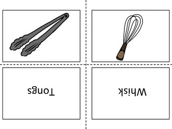 Kitchen Tools Flash Cards with Pictures and Words