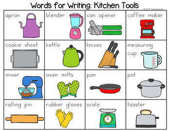 Kitchen Tools Word List - Writing Center