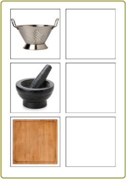 Kitchen Tools Identification, Word to Picture Matching Activity