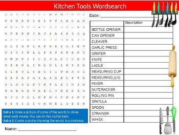 Kitchen Tools Wordsearch Puzzle Sheet Keywords Homework Food & Nutrition