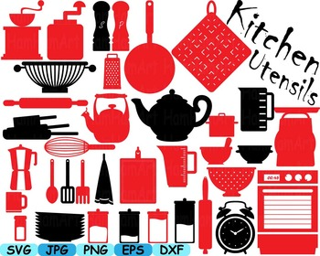 Kitchen Utensils food tools Clip art SVG Coffe shop pizzeria cut Pastry 164S