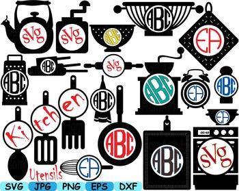 Kitchen Utensils food tools abc Clip art SVG text shop piz