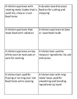 Kitchen Vocabulary Definitions