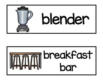 Kitchen Vocabulary Word Cards