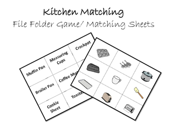 Kitchen Vocabulary Word to Picture Match