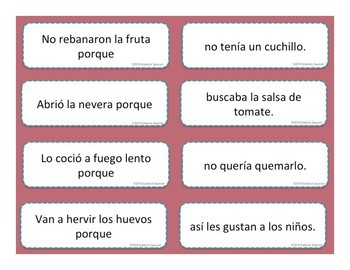 Kitchen and Food Preparation Spanish Vocabulary Sentence Building: Because
