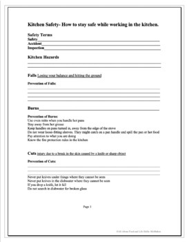 Kitchen and Food Safety Packet, FACS FCS