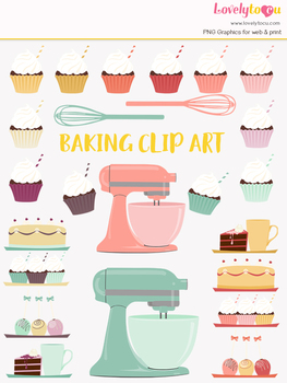 Kitchen baking clipart, cupcakes, home cook clip art (LC23)