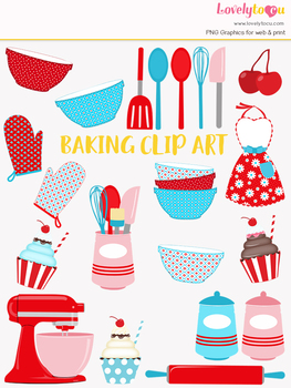 Kitchen baking clipart, home cook clip art (LC22)