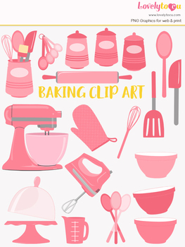 Kitchen baking clipart, home cook clip art (LC25)