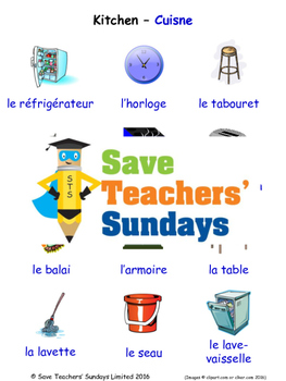 Kitchen in French Worksheets, Games, Activities and Flash Cards (with audio)