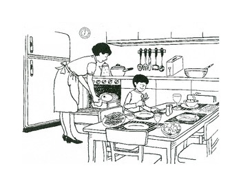Kitchen scene Partner Speaking activity