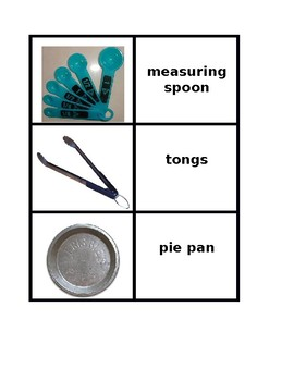 Kitchen utensils in English Concentration games
