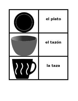 Kitchen utensils in Spanish Concentration games