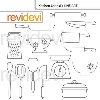 Kitchen utensils line art - clipart blackline