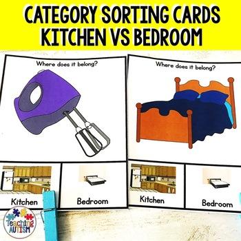 Kitchen v Bedroom Sorting Categories Task Cards