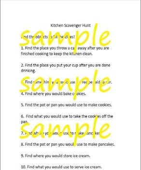 Kitchen/Cooking Scavenger Hunt by dmc | Teachers Pay Teachers