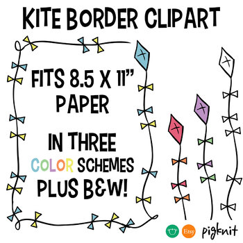 Kite border clipart frame fits 85 x 11 paper by pigknit clip art kite border clipart frame fits 85 x 11 paper voltagebd Image collections