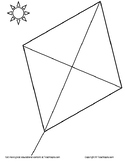 Kite Coloring Page.  A diamond kite for coloring.  Great for teaching symmetry.