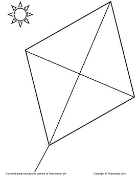 Kite Coloring Page A Diamond Kite For Coloring Great For Teaching Symmetry