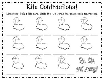 Kite Contractions -- First Grade Contractions with Not