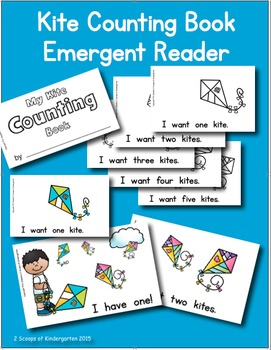 Kite Counting Book Emergent Reader Color - Black and White
