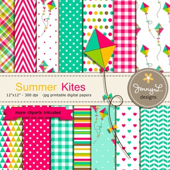 Kite Digital Paper and clipart